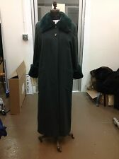 Bisang Designer Green Cashmere & Sheared Beaver Coat New With Tags Retail $3900
