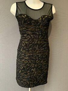 Fab black & gold sleeveless bodycon shift dress by Quiz,  UK14/ EU 42