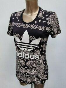 Women's Adidas Originals Trefoil Black White  X Farm Paisley Top T-Shirt 10