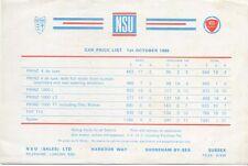 Original UK  Price  List  NSU 1965 Prinz 110 Spider