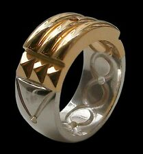 Sterling Silver Atlantis Ring 24K Gold Plated Bright All Sizes Anillo Atlante