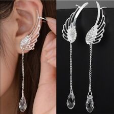 Fashion 925 Silver White Sapphire Wing Stud Dangle Earrings Jewelry Wedding Gift