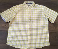 Marks & Spencer Mens Yellow White Blue Short Sleeved cotton Shirt Size Large L