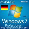Microsoft Windows 7 Professional Vollversion 32/64-Bit Hologramm DVDs + SP1 NEU