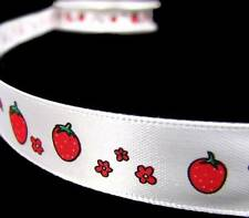 "5 yards 7.8/"" Rose Pink Strawberry Strawberries Grosgrain"