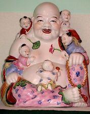 "Antique Guangxu  (1870-1900) Chinese Porcelain Large 12"" Laughing Buddha"