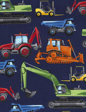 Timeless Treasures CONSTRUCTION TRUCKS EQUIPMENT 2~ 100% Cotton Quilt Fabric BTY