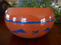Handmade Pottery Flower Pot Clay Painted Terre Cotta Signed Unknown artist
