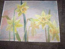 """Original Oil Painting By Peg Humphreys, Daffodils, Signed Peg on Back 12""""x16"""""""