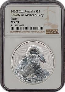 2020P 2OZ AUSTRALIA S$2 KOOKABURRA-MOTHER & BABY PIEFORT MS69 HIGH GRADE