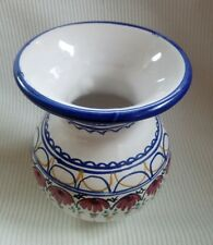 small wide opening, floral and line patterned decorative vase