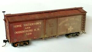 HO Scale Vintage Rome Watertown & Ogdensburg Truss Rod Wood Box Car, Kadee's