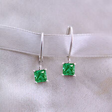 Princess Cut Green Emerald Solitaire Drop Earrings 14k White Gold Over