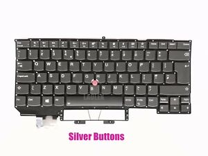 UK keyboard for Lenovo ThinkPad X1 Carbon 5th Gen 2017(20HQ/20HR)+silver buttons