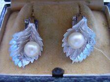 Orecchini vintage FOGLIE attacco a clips oro bianco 750 con perla coltivata mare