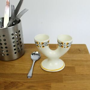 Retro Kitchen - Vintage Double 1950's Egg Cup from Granit Pottery, Hungary.