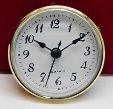 "Complete Clock Insert Fit Up Movement 2 3/4"" Diameter White Arabic Dial GWA2.75"