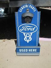Ford V8 Genuine Parts Wall Mounted Bottle Opener with Bottle Catch Cap Box Cool