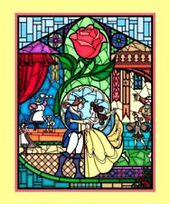 "DISNEY BELLE BEAUTY & THE BEAST STAINED GLASS FABRIC  35""PANEL  FREE US SHIPPING"