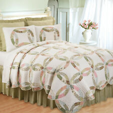 Evelyn's Wedding Ring Queen Quilt Set Traditional Quilt+ 2 Shams, Scalloped Edge