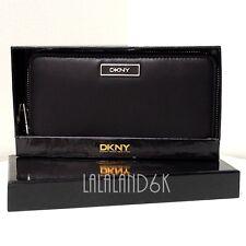 DKNY DONNA KARAN BLACK NAPPA LEATHER ZIP CLUTCH WALLET BAG + GIFT BOX