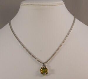 "CAVIAR LAGOS STERLING SILVER / 18K GOLD EMERALD CUT CITRINE PENDANT 16"" NECKLACE"