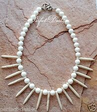 "White Collar Necklace Alabaster & Howlite Stone Spike Necklace 18,5"""