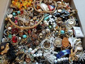 HUGE 24 lbs Vintage Mod Junk Jewelry Lot Rhinestones Repair Salvage Findings+