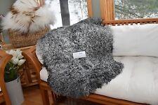 "Rare Silver/Gray Gotland Wavy Sheepskin Rug,Wall Hanging,Bedside Mat 36x31"" G22"