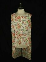 TORRID Plus Size 1 1X Long Tunic Top Pink Red Blue Black Floral Sheer Sleeveless