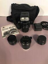 Konica Minolta Dynax Maxxum 5D DSLR Digital Camera  4 Lenses 2 Batteries Charger