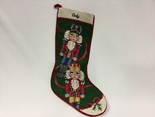 """Tapestry Christmas Stocking Nut Colonial Soldier Crackers 19"""" Completed Cody"""
