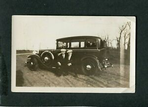 Vintage Car Photo Men in Arms on Roadside w/ circa 1930 Studebaker Sedan 415120