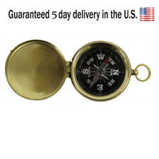 Hiking and Camping Brass Pocket Compass with Black Face Nautical Gift Decor