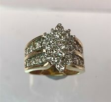 14k Yellow Gold Diamond Cluster Ring Approx 2.0 ct tw, Size 5.25