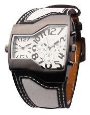 Reloj Hombre MILITAR Deportivo Cuero Cuarzo Doble Horario Men Wrist Watch OULM06