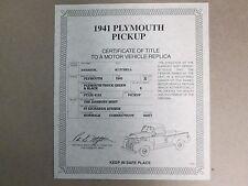 Danbury Mint Paperwork 1941 Plymouth Pickup