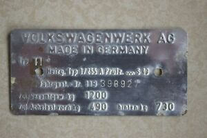 1967 Original VW Volkswagen VIN Name Plate Type 1 Beetle