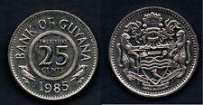 GUYANA 25 CENTS 1985 FDC / UNC