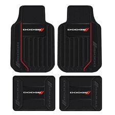 New 4pc Dodge Elite Racing Stripes Front & Back Heavy Duty Rubber Floor Mats Set