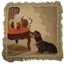"18"" x 18"" Handmade Wool Needlepoint King Charles Spaniel Dog Pillow with Tassels"