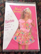 BARBIE Greeting Card YOU'RE SPECIAL w/Teacup Design Cotton Dress NIP