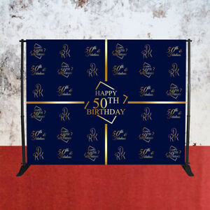 Happy Birthday 50th backdrops for photography birthday with STAND GOLD nylon Bag