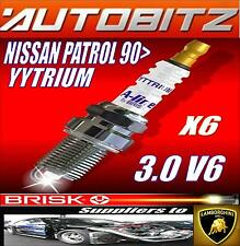 FITS NISSAN PATROL 3.0 V6 1990> BRISK SPARK PLUGS X6 YYTRIUM FAST DISPATCH