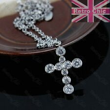 QUALITY CUBIC ZIRCONIA CROSS pendant chain NECKLACE 18KGP silver tone CZ crystal