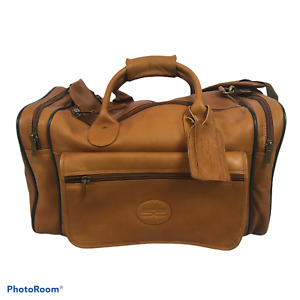 Claire Chase Rustic Leather Sports Valise Duffel Bag in Brown