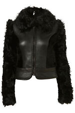 Topshop Premium Real Shearling Leather Fur Sheepskin Jacket Coat Sz S UNIQUE
