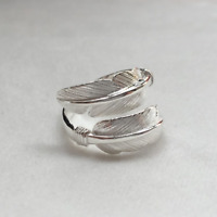 Solid Sterling Sliver Wrap Wide Feather Band Angel Wing Leaf Silver Ring II