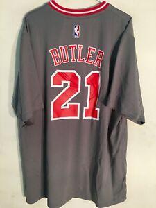 Adidas NBA Jersey Chicago Bulls Jimmy Butler Grey Short Sleeve size LARGE