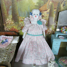 Antique 20s NIPPON DOLL Bisque Porcelain Pink Blue Dress Cloth China Head JAPAN